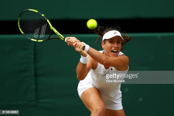 Johanna Konta of Great Britain plays a backhand during the Ladies Singles semi final match against Venus Williams of The United States on day ten of...