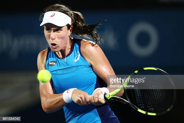 Johanna Konta of Great Britain plays a backhand in her semi final match against Eugenie Bouchard of Canada during day five of the 2017 Sydney...