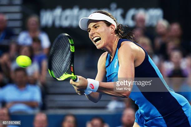 Johanna Konta of Great Britain plays a backhand in the Womens Final match against Agnieszka Radwanska of Poland during the Sydney International at...