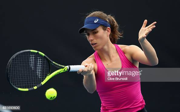 Johanna Konta of Great Britain plays a forehand during her first practice session ahead of the 2017 Australian Open at Melbourne Park on January 15...