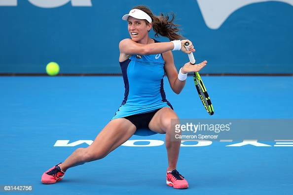 Johanna Konta of Great Britain plays a forehand during her womens singles match against Daria Kasatkina of Russia during day four of the 2017 Sydney...