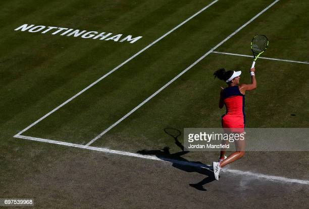 Johanna Konta of Great Britain plays a forehand during her Women's Singles Final match against Donna Vekic of Croatia during day 7 of the Aegon Open...