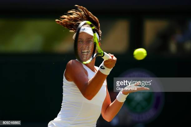Johanna Konta of Great Britain plays a forehand during the Ladies Singles second round match against Donna Vekic of Croatia on day three of the...