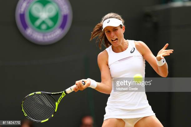 Johanna Konta of Great Britain plays a forehand during the Ladies Singles fourth round match against Caroline Garcia of France on day seven of the...