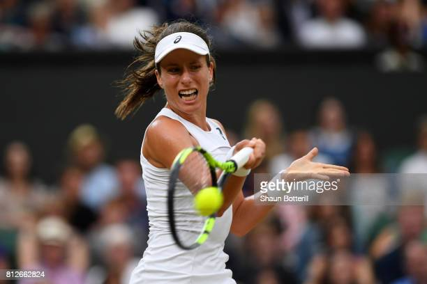 Johanna Konta of Great Britain plays a forehand during the Ladies Singles quarter final match against Simona Halep of Romania on day eight of the...