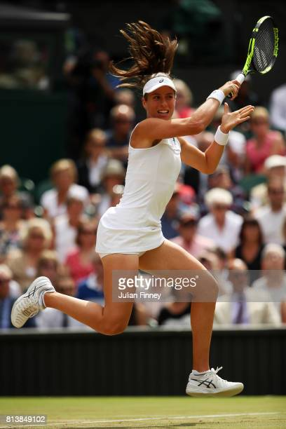 Johanna Konta of Great Britain plays a forehand during the Ladies Singles semi final match against Venus Williams of The United States on day ten of...