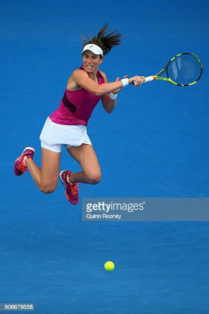 Johanna Konta of Great Britain plays a forehand in her fourth round match against Ekaterina Makarova of Russia during day eight of the 2016...