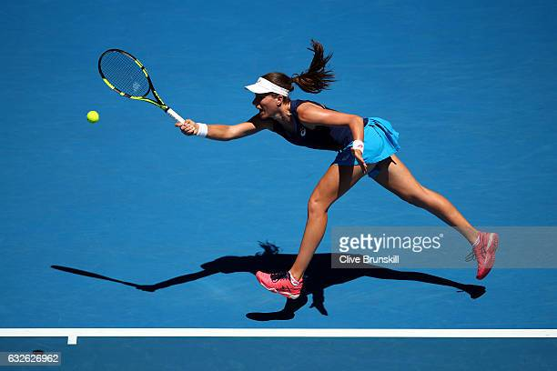 Johanna Konta of Great Britain plays a forehand in her quarterfinal match against Serena Williams of the Unites States on day 10 of the 2017...