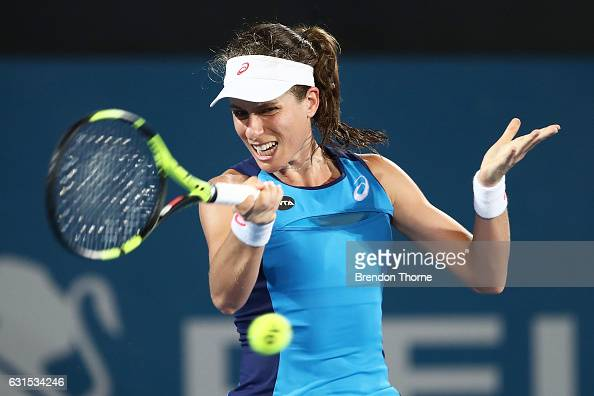 Johanna Konta of Great Britain plays a forehand in her semi final match against Eugenie Bouchard of Canada during day five of the 2017 Sydney...