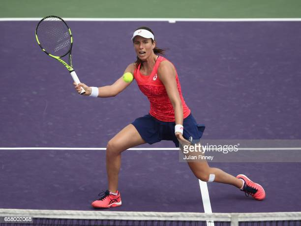 Johanna Konta of Great Britain plays a volley in her match against Pauline Parmentier of France at Crandon Park Tennis Center on March 26 2017 in Key...