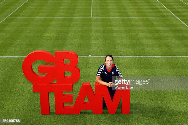 Johanna Konta of Great Britain poses for a picture after an announcement of tennis athletes named in Team GB for the Rio 2016 Olympic Games at The...