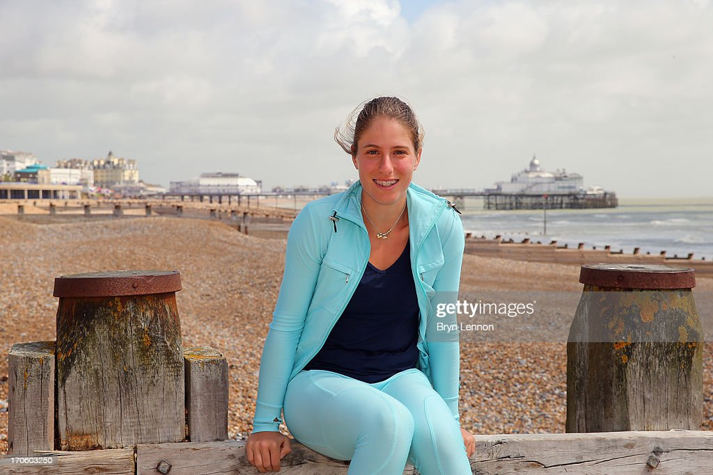 Johanna Konta of Great Britain poses for photos during day one of the Aegon Interantional at Devonshire Park on June 15, 2013 in Eastbourne, England.