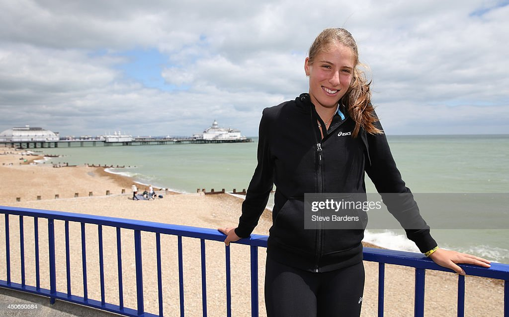Johanna Konta of Great Britain poses on the seafront in Eastbourne during a photocall on day two of the Aegon International at Devonshire Park on...