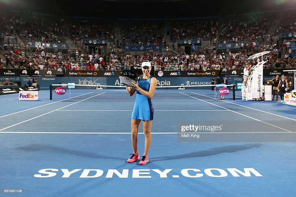 Johanna Konta Of Great Britain Poses With The Winners Trophy After Womens Final Match Against