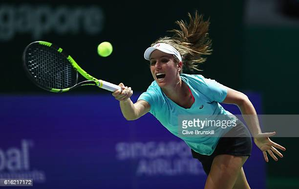 Johanna Konta of Great Britain practices prior to the BNP Paribas WTA Finals Singapore at Singapore Sports Hub on October 22 2016 in Singapore