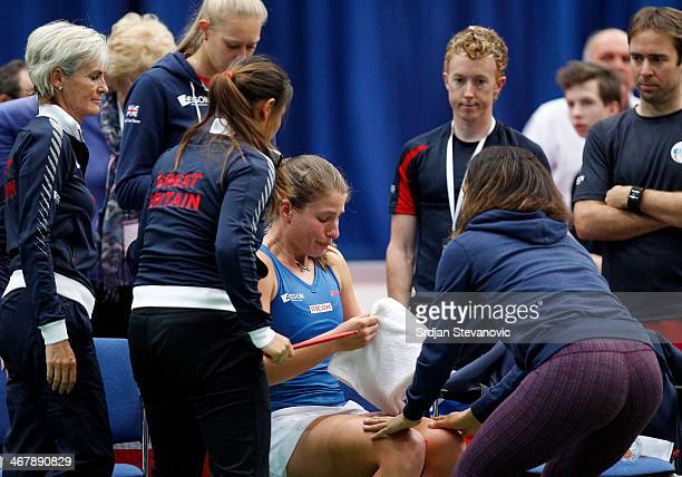 Johanna Konta of Great Britain reacts after losing the match against Jani LucaReka of Hungary during the day three of Fed Cup Europe/Africa Group One...