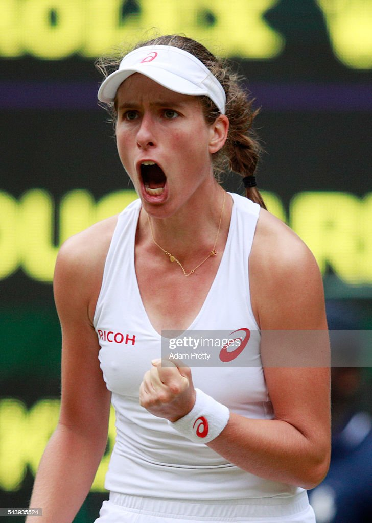 <a gi-track='captionPersonalityLinkClicked' href=/galleries/search?phrase=Johanna+Konta&family=editorial&specificpeople=4482643 ng-click='$event.stopPropagation()'>Johanna Konta</a> of Great Britain reacts during the Ladies Singles second round match against Eugenie Bouchard of Canada on day four of the Wimbledon Lawn Tennis Championships at the All England Lawn Tennis and Croquet Club on June 30, 2016 in London, England.