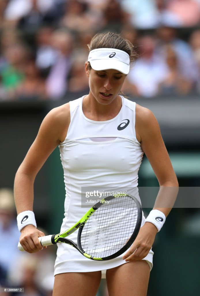 Johanna Konta of Great Britain reacts during the Ladies Singles semi final match against Venus Williams of The United States on day ten of the Wimbledon Lawn Tennis Championships at the All England Lawn Tennis and Croquet Club at Wimbledon on July 13, 2017 in London, England.