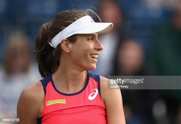 Johanna Konta of Great Britain reacts in her match against Coco Vandeweghe of USA during day four of the Aegon Classic at Edgbaston Priory Club on...