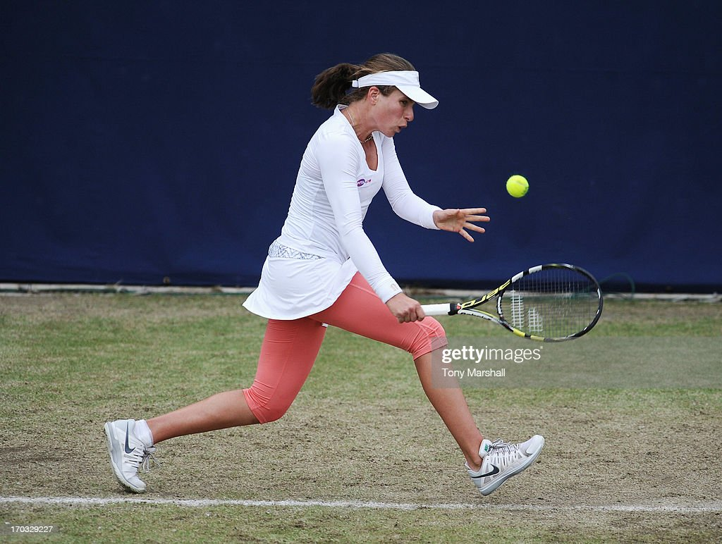 Johanna Konta of Great Britain returns a shot during her match against Kurumi Nara of Japan during The AEGON Classic Tennis Tournament at Edgbaston Priory Club on June 11, 2013 in Birmingham, England.