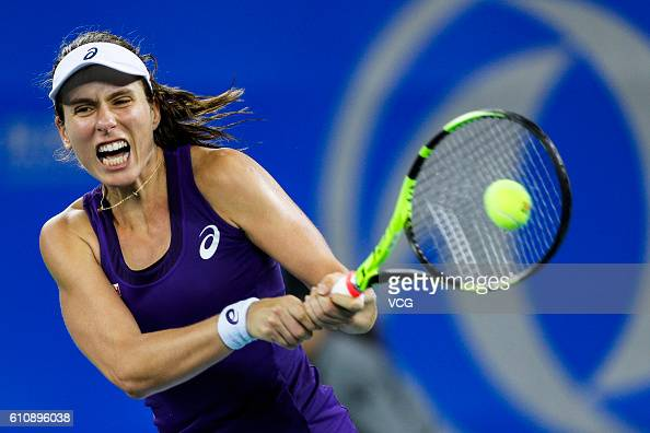 Johanna Konta of Great Britain returns a shot during the third round match against Carla Suarez Navarro of Spain on day four of the 2016 WTA Dongfeng...