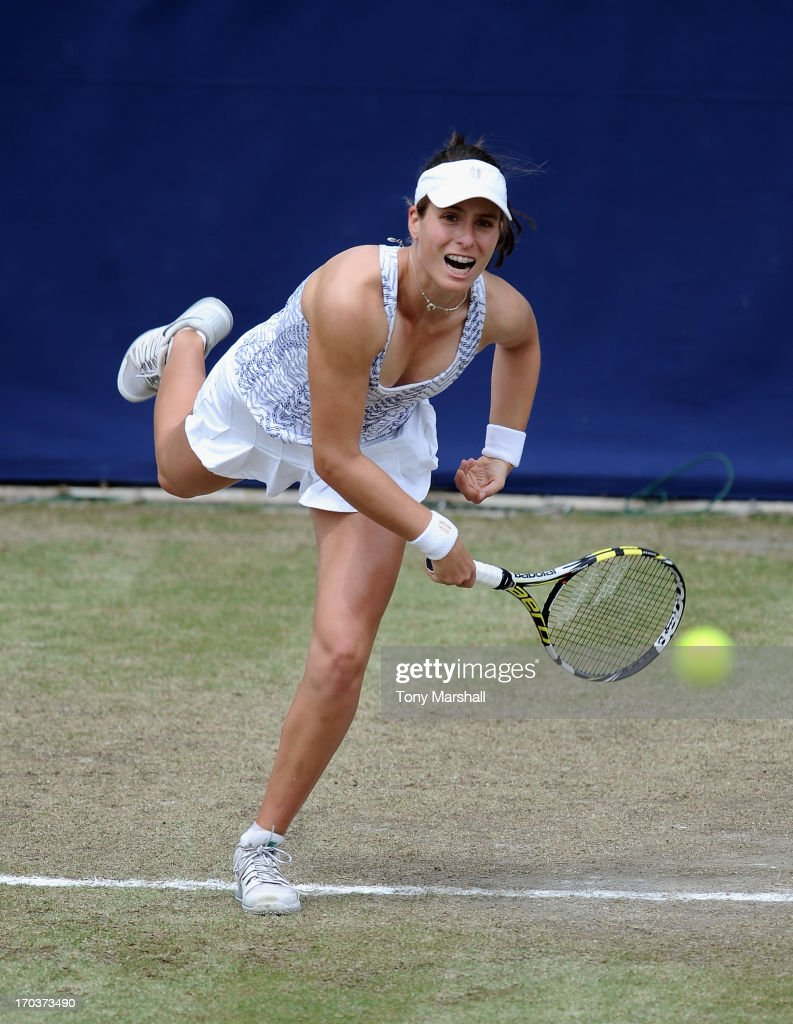 Johanna Konta of Great Britain returns a shot in her match against Kristina Mladenovic of France during the AEGON Classic Tennis Tournament at Edgbaston Priory Club on June 12, 2013 in Birmingham, England.