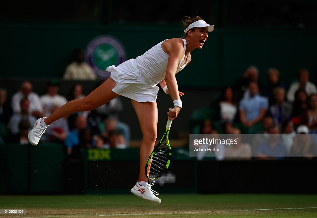 <a gi-track='captionPersonalityLinkClicked' href=/galleries/search?phrase=Johanna+Konta&family=editorial&specificpeople=4482643 ng-click='$event.stopPropagation()'>Johanna Konta</a> of Great Britain serves during the Ladies Singles second round match against Eugenie Bouchard of Canada on day four of the Wimbledon Lawn Tennis Championships at the All England Lawn Tennis and Croquet Club on June 30, 2016 in London, England.