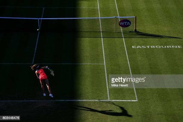 Johanna Konta of Great Britain serves during the ladies singles quarter final match against Angelique Kerber of Germany on day five of the Aegon...