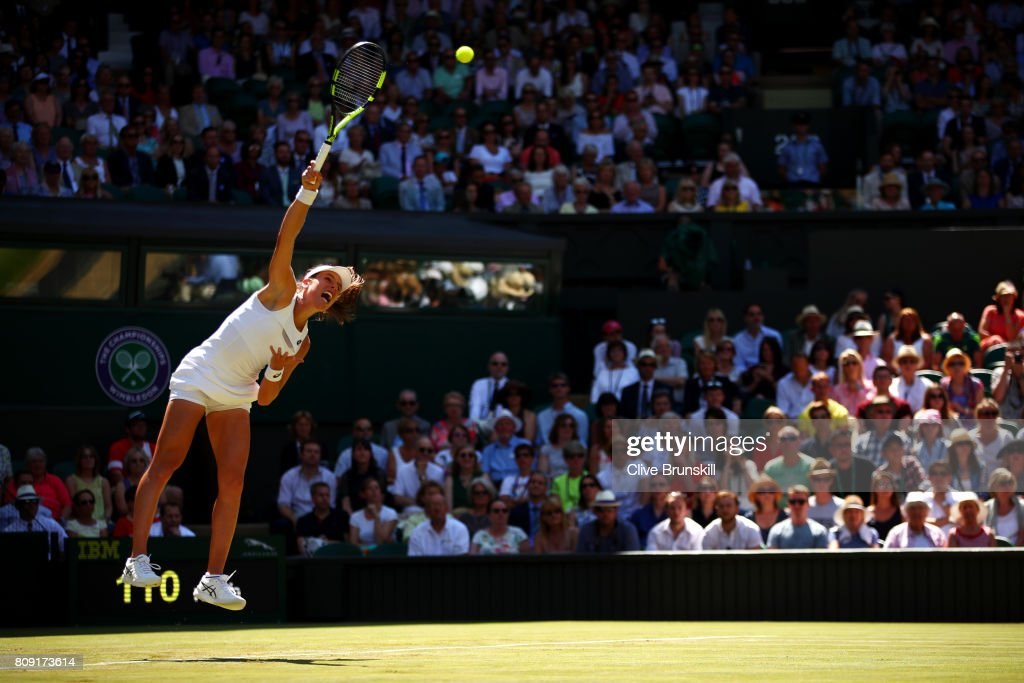 Johanna Konta of Great Britain serves during the Ladies Singles second round match against Donna Vekic of Croatia on day three of the Wimbledon Lawn Tennis Championships at the All England Lawn Tennis and Croquet Club on July 5, 2017 in London, England.