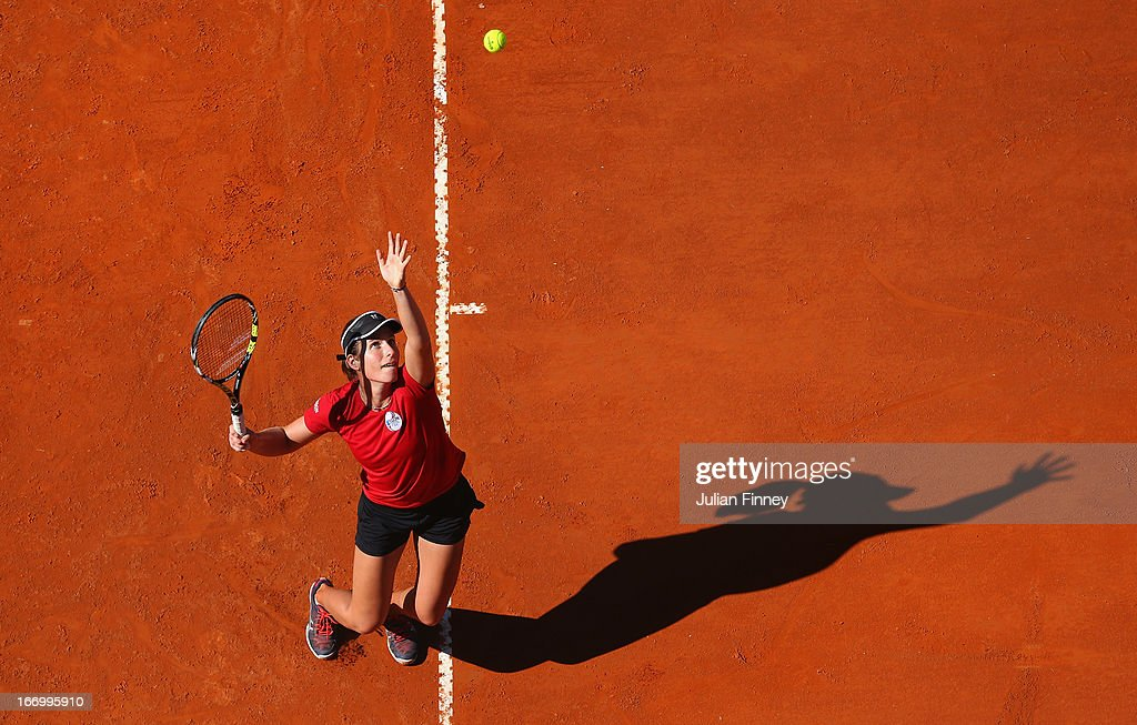 <a gi-track='captionPersonalityLinkClicked' href=/galleries/search?phrase=Johanna+Konta&family=editorial&specificpeople=4482643 ng-click='$event.stopPropagation()'>Johanna Konta</a> of Great Britain serves in a practice session during previews ahead of the Fed Cup World Group Two Play-Offs between Argentina and Great Britain at Parque Roca on April 19, 2013 in Buenos Aires, Argentina.