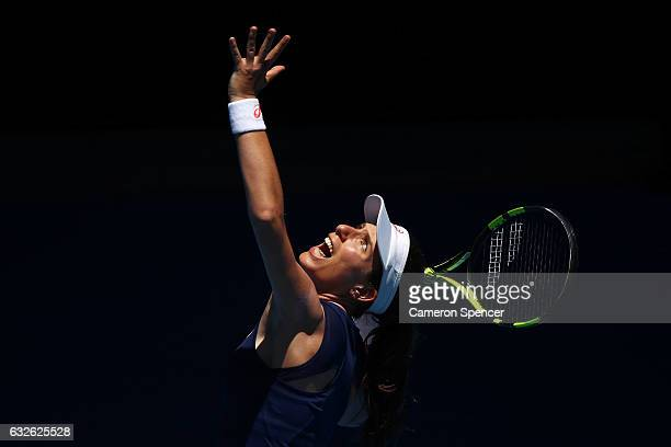 Johanna Konta of Great Britain serves in her quarterfinal match against Serena Williams of the Unites States on day 10 of the 2017 Australian Open at...