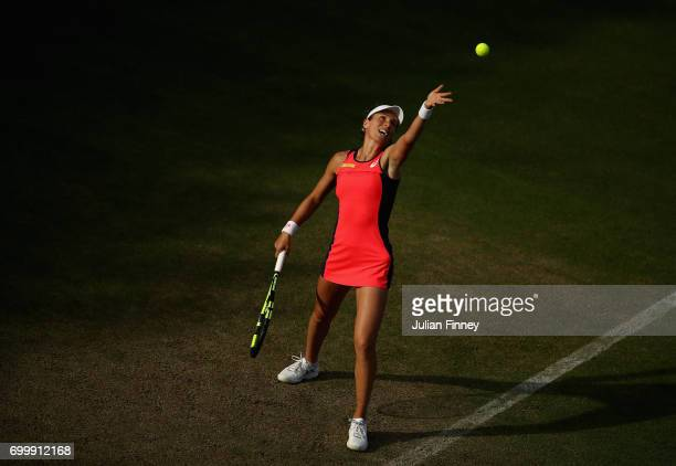Johanna Konta of Great Britain serves to Coco Vandeweghe of USA during day four of the Aegon Classic at Edgbaston Priory Club on June 22 2017 in...
