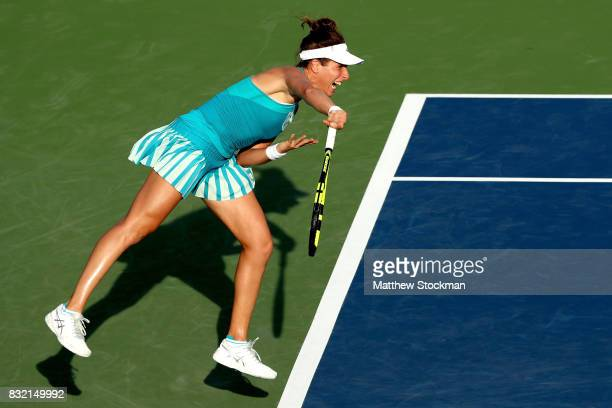 Johanna Konta of Great Britain serves to Kiki Bertens of Neherlands during day 4 of the Western Southern Open at the Lindner Family Tennis Center on...
