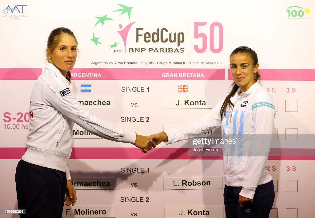 Johanna Konta of Great Britain shakes hands with her first match oponent Paula Ormaechea of Argentina during previews ahead of the Fed Cup World Group Two Play-Offs between Argentina and Great Britain at Parque Roca on April 19, 2013 in Buenos Aires, Argentina.