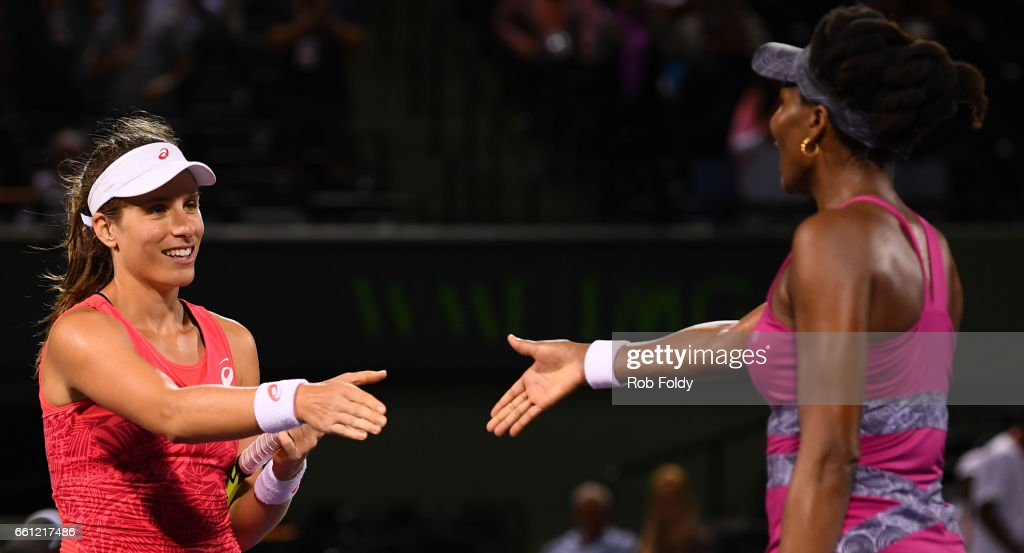 Johanna Konta of Great Britain shakes hands with Venus Williams after winning the semifinals match on day 11 of the Miami Open at the Crandon Park Tennis Center on March 30, 2017 in Key Biscayne, Florida.