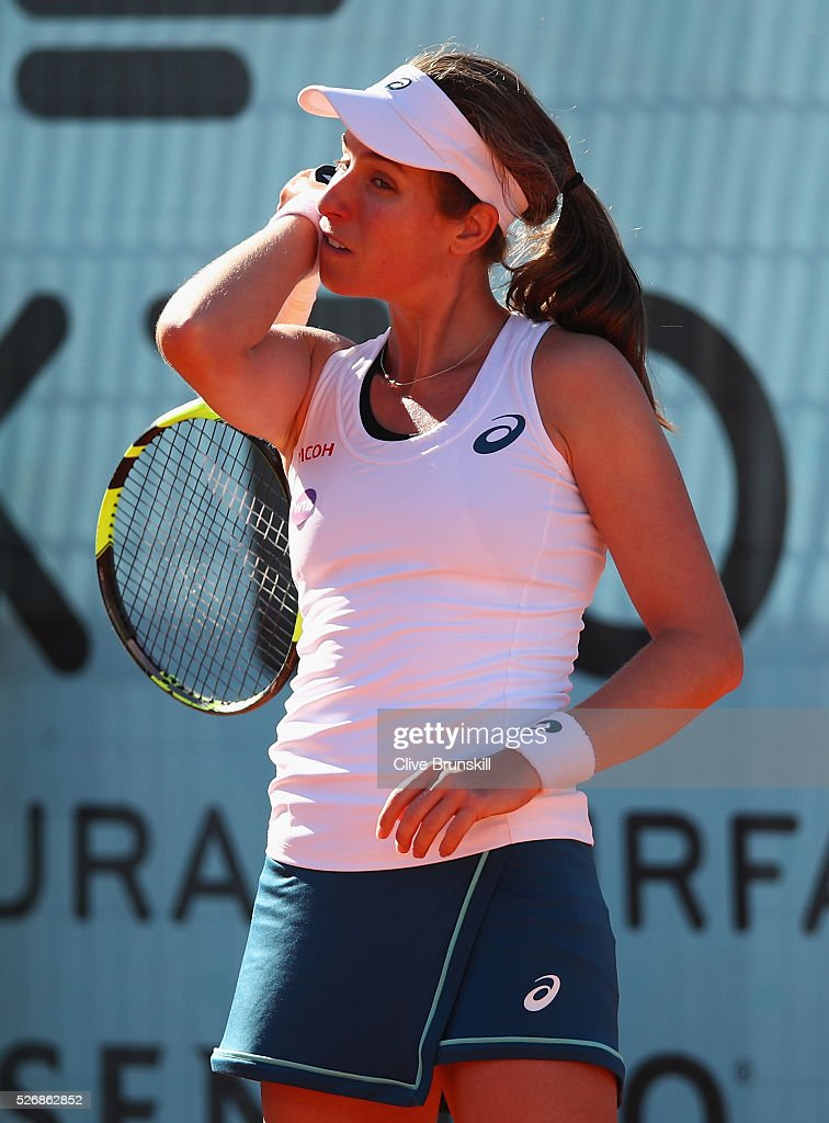 Johanna Konta of Great Britain shows her emotion in her first round match against Caroline Garcia of France during day two of the Mutua Madrid Open tennis tournament at the Caja Magica on May 01, 2016 in Madrid,Spain