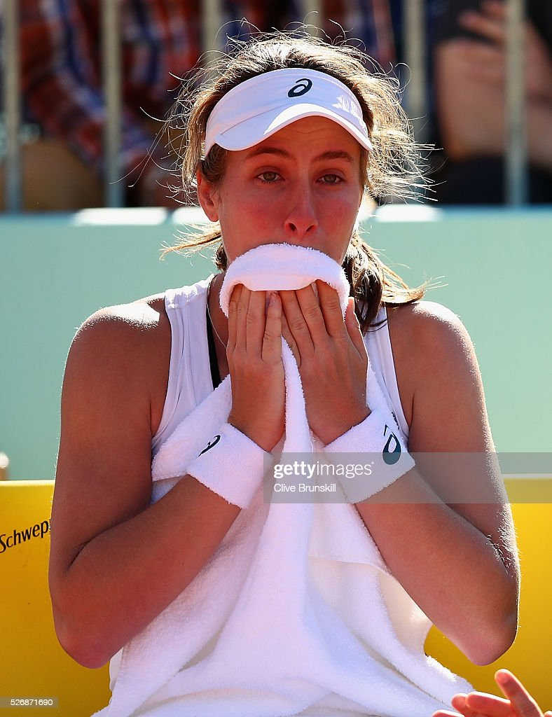 <a gi-track='captionPersonalityLinkClicked' href=/galleries/search?phrase=Johanna+Konta&family=editorial&specificpeople=4482643 ng-click='$event.stopPropagation()'>Johanna Konta</a> of Great Britain shows her emotion in her first round match against Caroline Garcia of France during day two of the Mutua Madrid Open tennis tournament at the Caja Magica on May 01, 2016 in Madrid,Spain