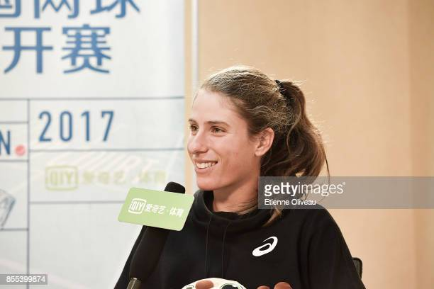 Johanna Konta of Great Britain takes a interview during the preview day of the 2017 China Open at the China National Tennis Centre on September 29...