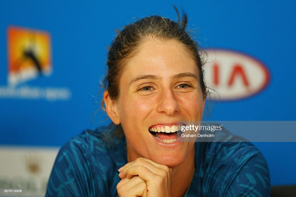 Johanna Konta of Great Britain talks to the media following her quarter final victory over Shuai Zhang of China during day 10 of the 2016 Australian...