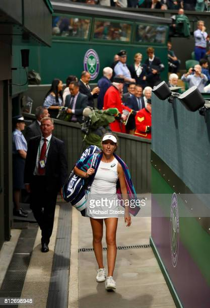 Johanna Konta of Great Britain walks off court after victory in the Ladies Singles quarter final match against Simona Halep of Romania on day eight...