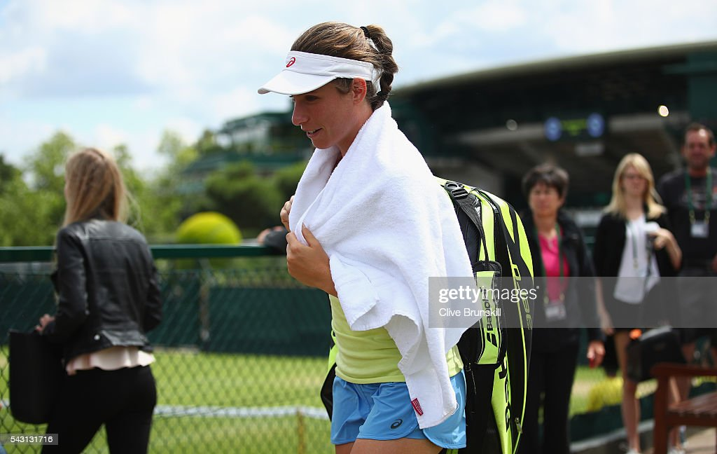 <a gi-track='captionPersonalityLinkClicked' href=/galleries/search?phrase=Johanna+Konta&family=editorial&specificpeople=4482643 ng-click='$event.stopPropagation()'>Johanna Konta</a> of Great Britain walks to her practice session prior to the Wimbledon Lawn Tennis Championships at the All England Lawn Tennis and Croquet Club on June 26, 2016 in London, England.