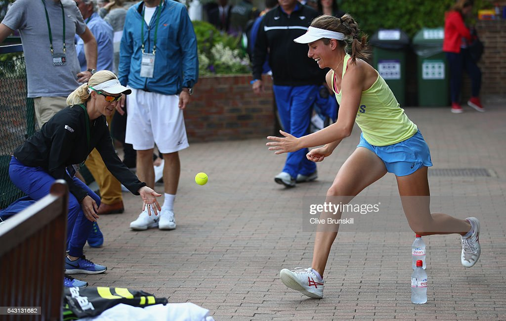 <a gi-track='captionPersonalityLinkClicked' href=/galleries/search?phrase=Johanna+Konta&family=editorial&specificpeople=4482643 ng-click='$event.stopPropagation()'>Johanna Konta</a> of Great Britain warms up before her practice session prior to the Wimbledon Lawn Tennis Championships at the All England Lawn Tennis and Croquet Club on June 26, 2016 in London, England.