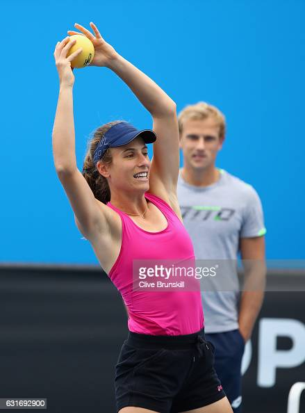 Johanna Konta of Great Britain warms up during her first practice session ahead of the 2017 Australian Open at Melbourne Park on January 15 2017 in...