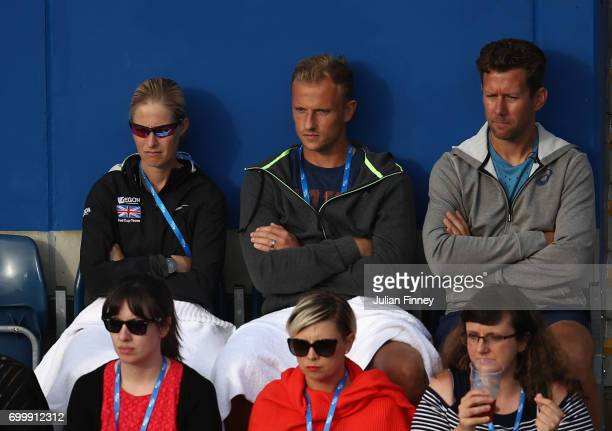 Johanna Konta of Great Britain's coach Wim Fissette watches on as Johanna Konta of Great Britain plays against Coco Vandeweghe of USA during day four...
