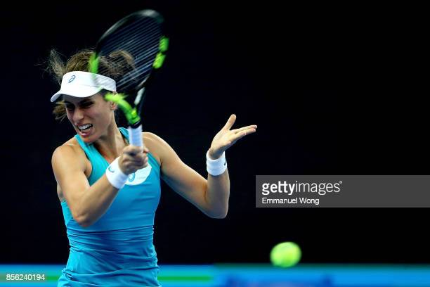 Johanna Konta of Great Britan returns a shot against Monica Niculescu of Romania on day two of the 2017 China Open at the China National Tennis...