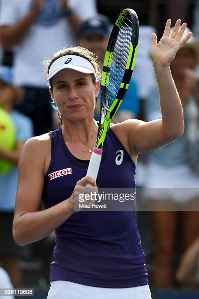 Johanna Konta of the United Kingdom acknowledges the crowd after defeating Tsvetana Pironkova of Bulgaria during her second round Women's Singles...