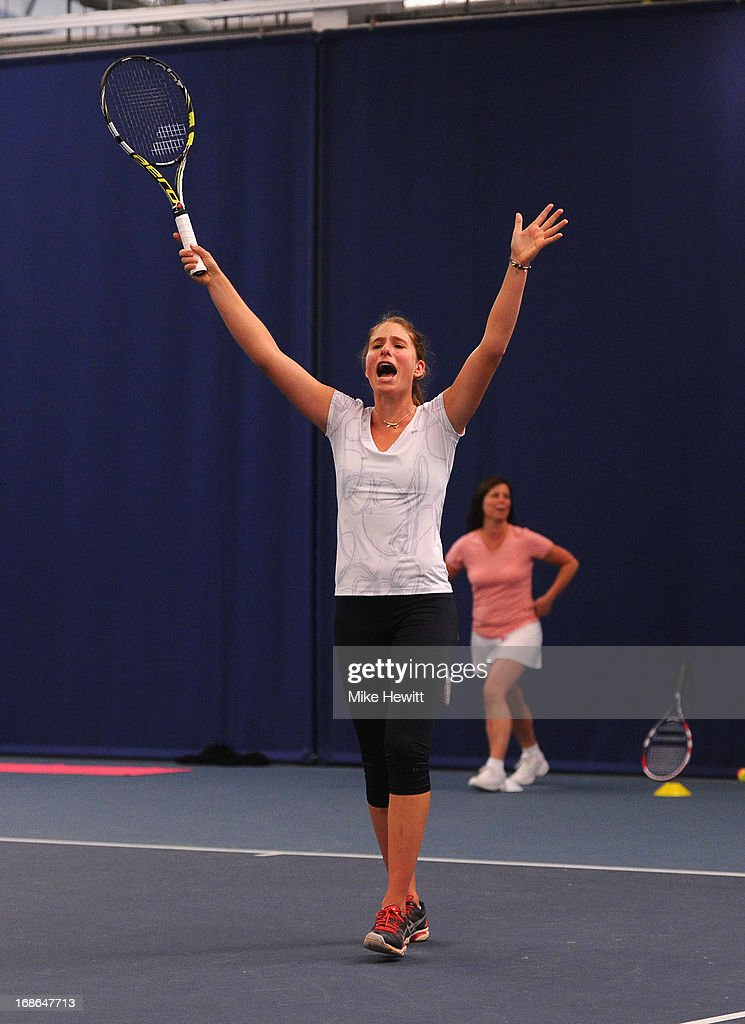 Johanna Konta prepares for Aegon International with Cardio Tennis at the Brighton Virgin Active and Racket Club on May 13, 2013 in Brighton, England.