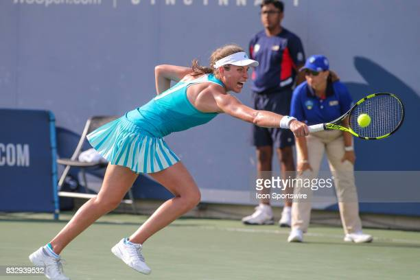 Johanna Konta stretches to hit a backhand during the Western Southern Open at the Lindner Family Tennis Center in Mason Ohio on August 15 2017