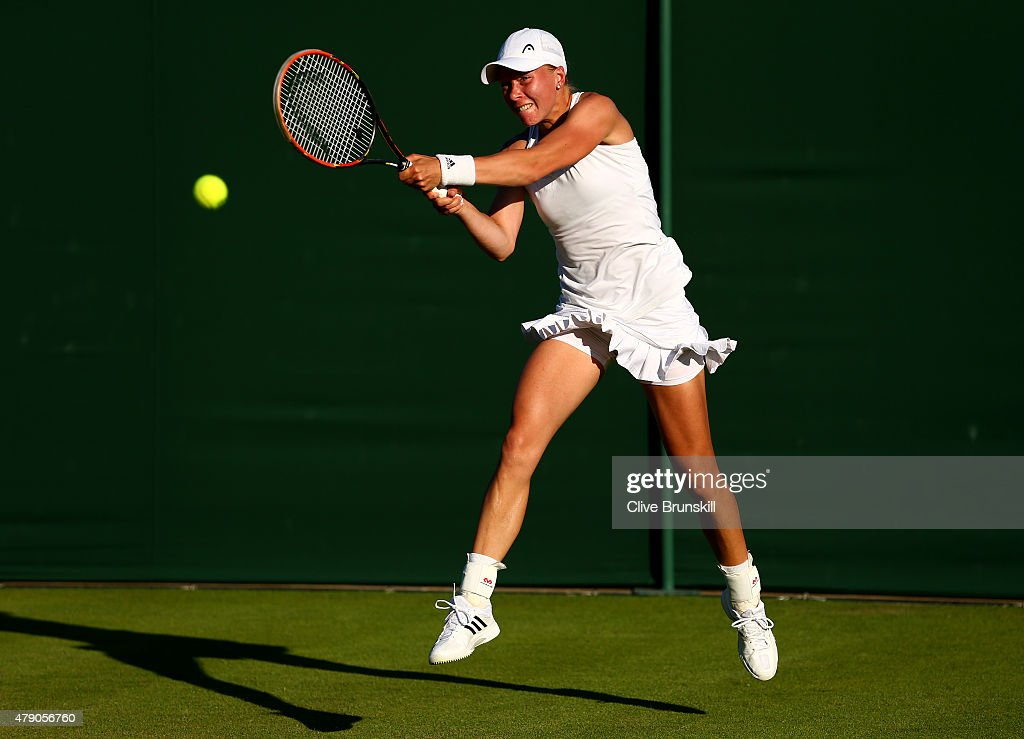 <a gi-track='captionPersonalityLinkClicked' href=/galleries/search?phrase=Johanna+Larsson&family=editorial&specificpeople=6727077 ng-click='$event.stopPropagation()'>Johanna Larsson</a> of Sweden in action in her Ladies Singles first round match against Christina McHale of the United States during day two of the Wimbledon Lawn Tennis Championships at the All England Lawn Tennis and Croquet Club on June 30, 2015 in London, England.