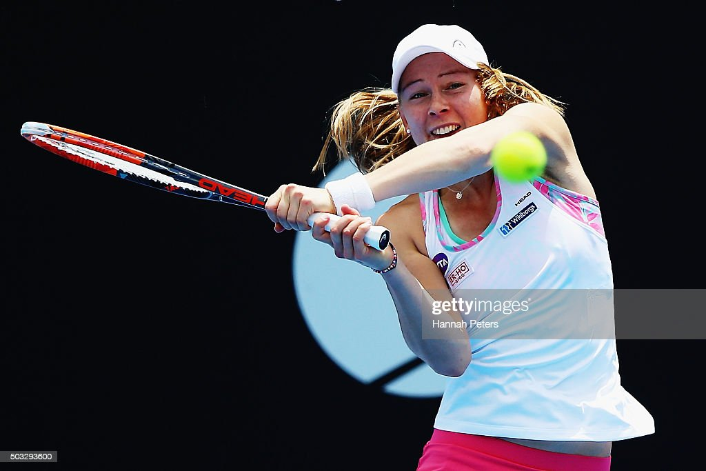 <a gi-track='captionPersonalityLinkClicked' href=/galleries/search?phrase=Johanna+Larsson&family=editorial&specificpeople=6727077 ng-click='$event.stopPropagation()'>Johanna Larsson</a> of Sweden plays a backhand during the first round match against Jelena Ostapenko of Latvia during day one of the 2016 ASB Classic at the ASB Tennis Arena on January 4, 2016 in Auckland, New Zealand.
